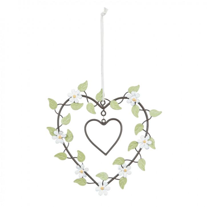 Herz weiße Blumen ca. 14 x 15 cm