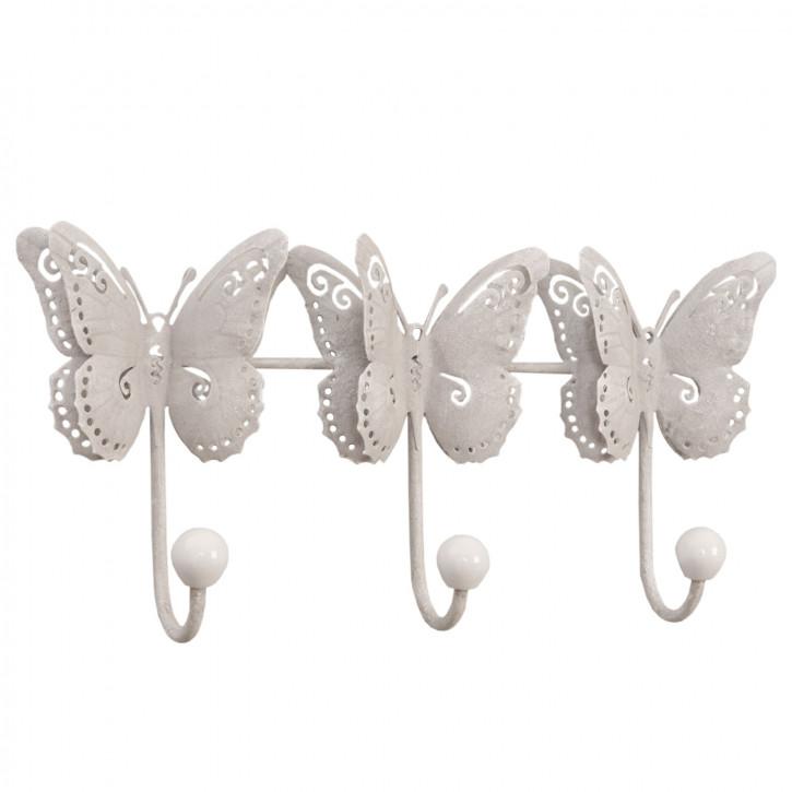 Wandhaken drei Schmetterlinge Weiß ca. 23 x 16 x 6 cm