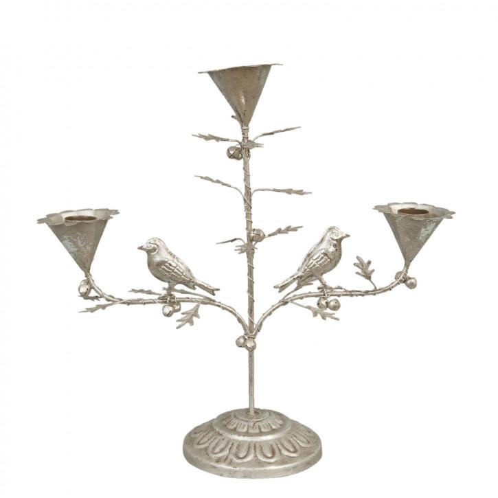 Kerzenhalter Vögel Silbernfarben für 3 Kerzen ca. 33 x 12 x 32 cm