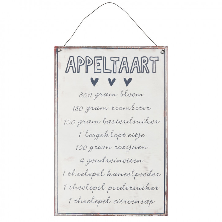 Textschild Schild Spruch Rezept Appeltaart... ca. 20 x 30 cm