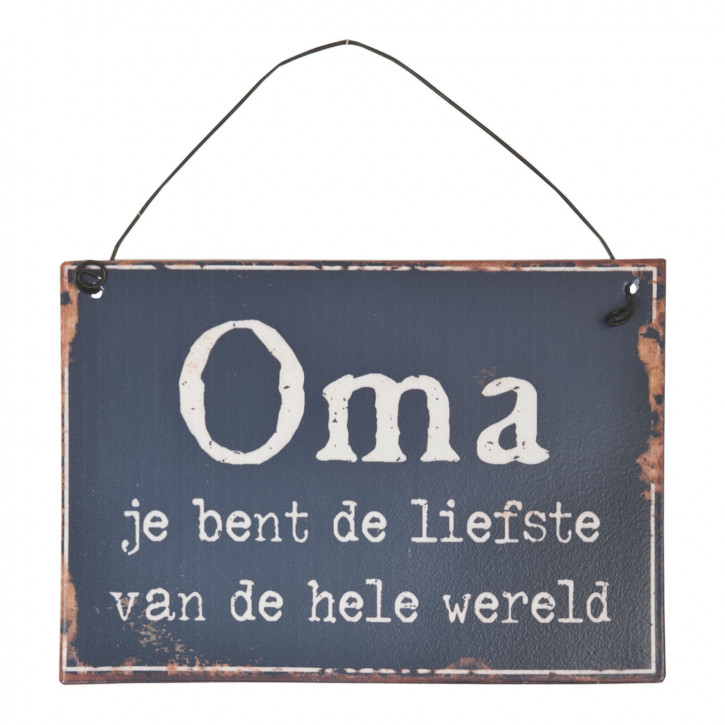 Textschild Schild Spruch Oma je bent de liefste... ca. 13 x 9 cm