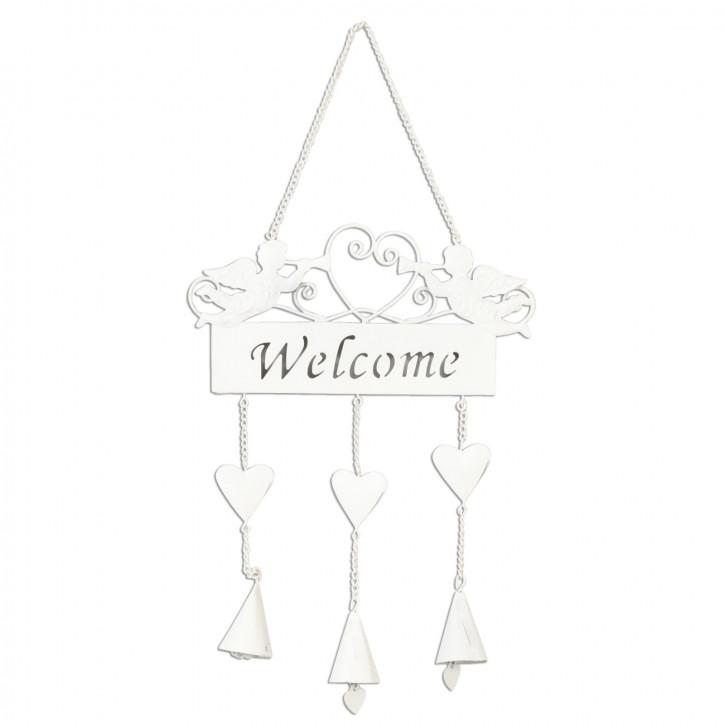 Anhänger Schild Engel Welcome weiß ca. 17 x 40 cm
