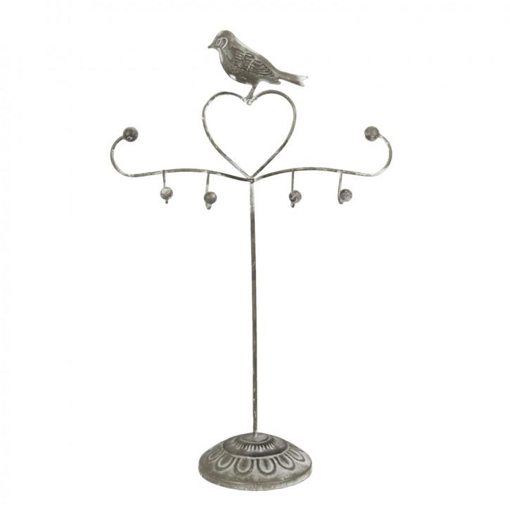 Schmuckständer Vogel Herz grau ca. 27 x 11 x 42 cm