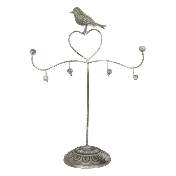 Schmuckständer Vogel Herz grau ca. 20 x 9 x 30 cm