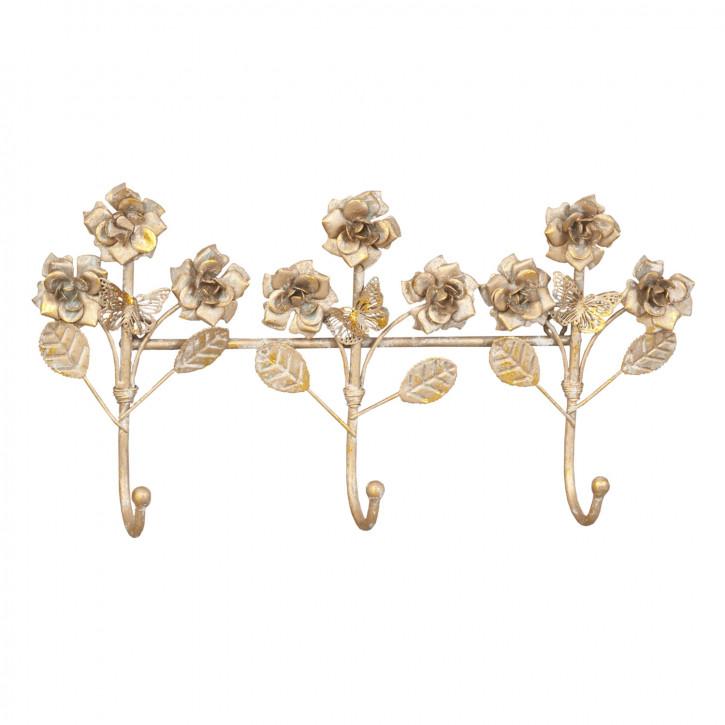 Garderobe mit drei Haken Blumen goldfarbig ca. 38 x 18 x 6 cm