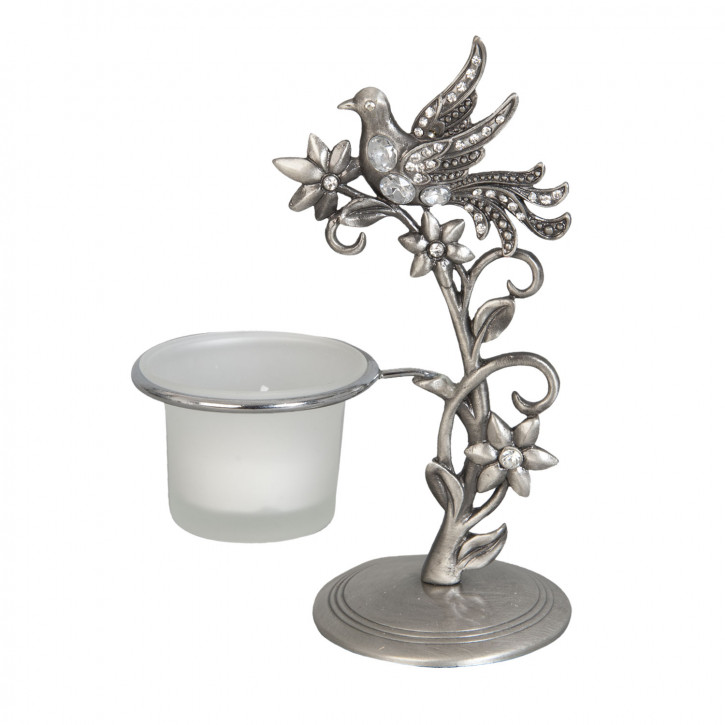 Teelichthalter Kerzenhalter Vogel grau
