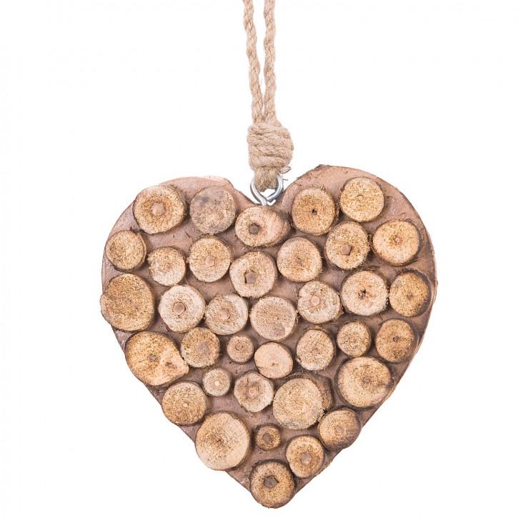 Deko Herz zum Aufhängen Holz 15 cm