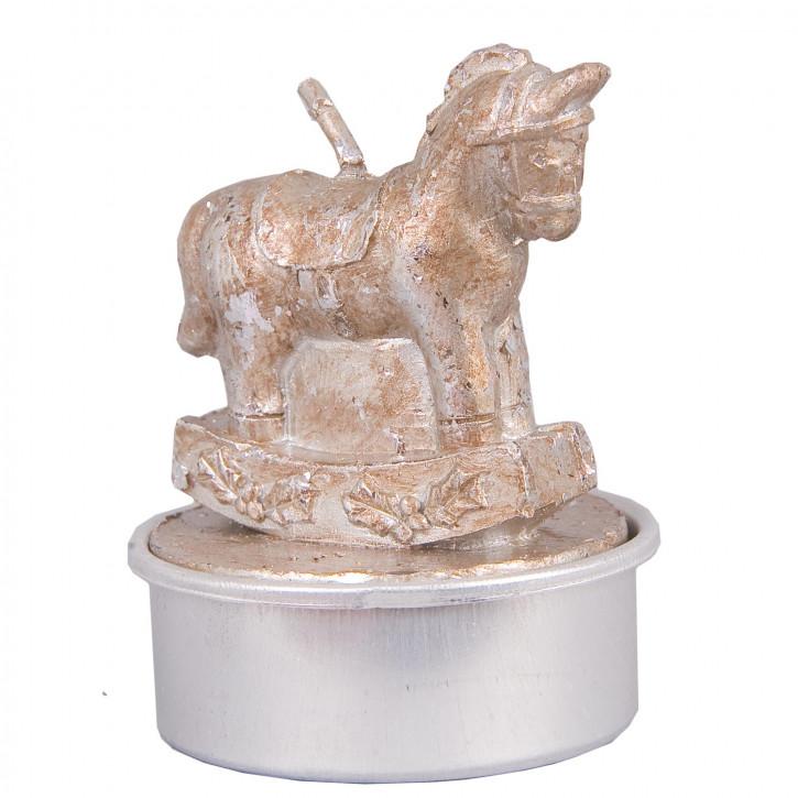 Teelicht Schaukelpferd Pferd silberfarbig 6er Set