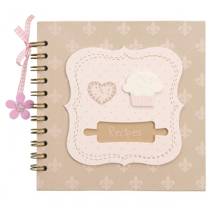 Rezeptbuch mit Herz- und Muffin-Motiv, lila