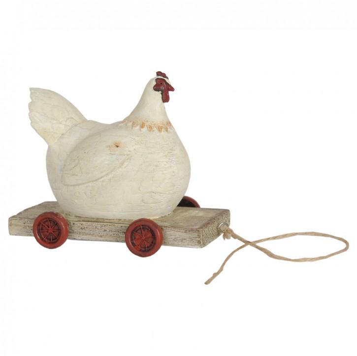 Huhn auf Rädern 14x6x11 cm
