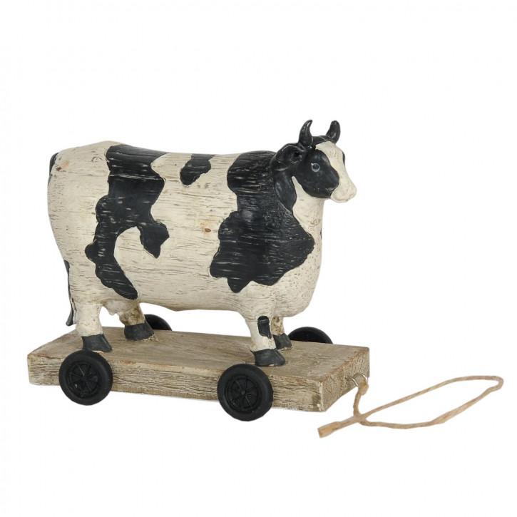 Bunte Kuh auf Rädern 14x7x12 cm