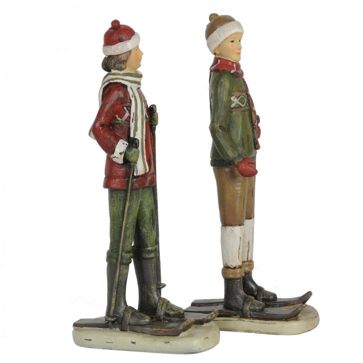 Deko Ski-Paar im Set grün/rot