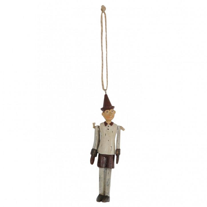 Deko Holz-Pinokkio hängend in beige/braun