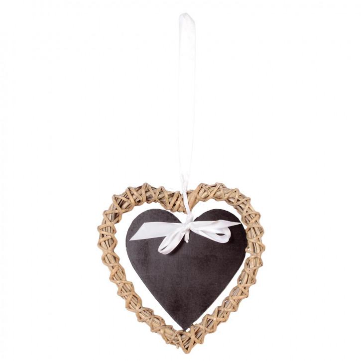 Kreidetafel Herz beige/schwarz 20x20cm
