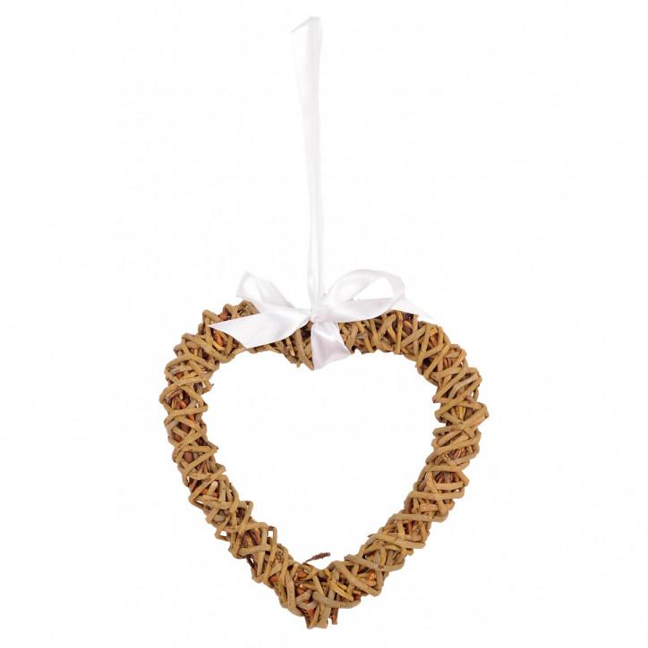 Stroh-Herz mit weißer Schleife zum Aufhängen
