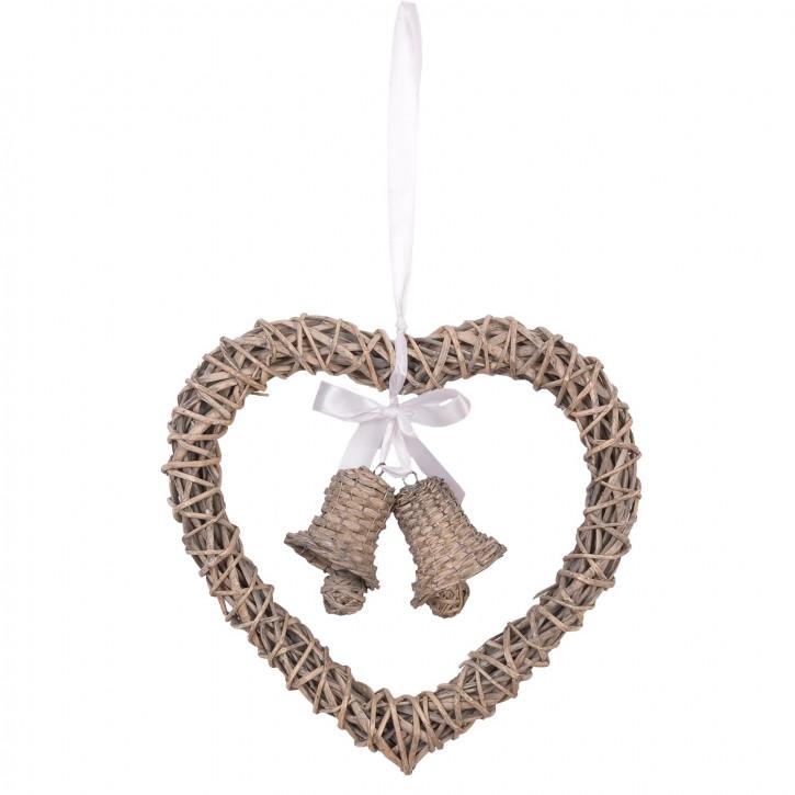 Kranz-Herz mit Glocken und Schleife zum Aufhängen