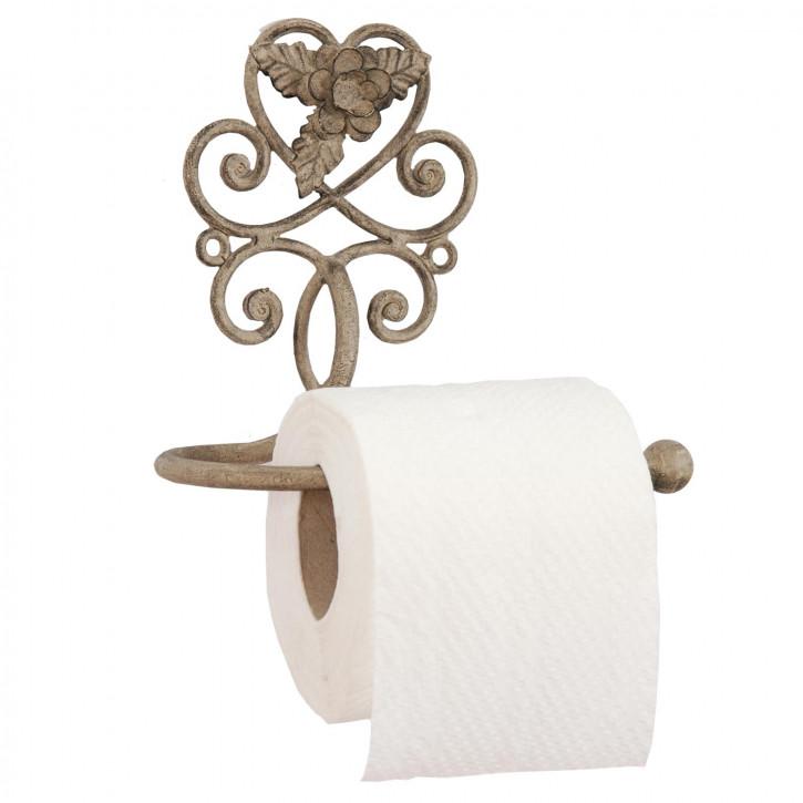 Toilettenpapierhalter Metall Blütenverzierung Landhaus- Stil 17 x 11 x 15 cm