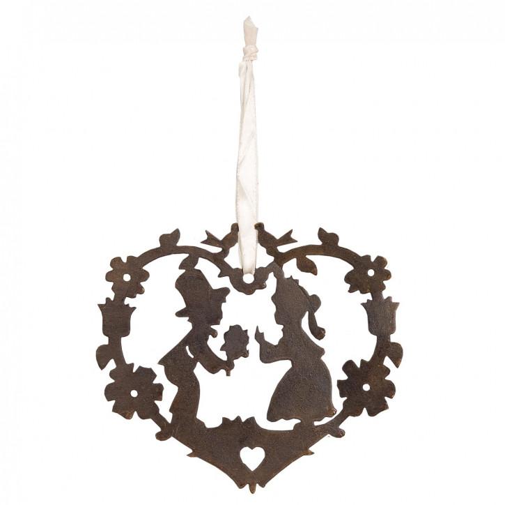 Herz aus Holz zum Aufhängen mit Mädchen-Jungen-Motiv