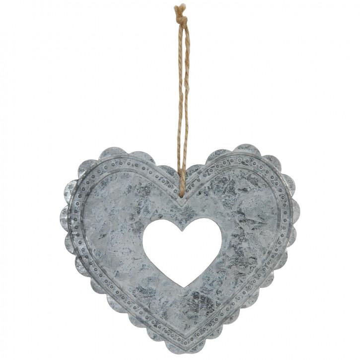 Herz in Herz zum Aufhängen aus Metall, in silber