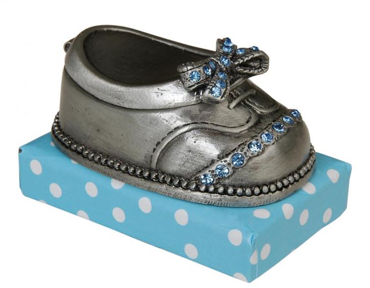 Babyschuh aus Metall mit blauen Steinchen