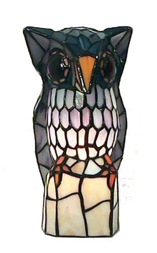 Dekolampe im Tiffany-Stil Eule 25x15cm