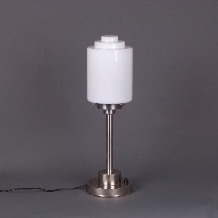 Tischlampe Gestufte Zylinder  Armatur Kantig  in Nickel Matt