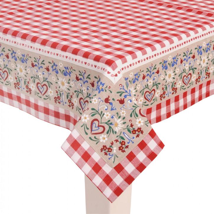 Rot karrierte Tischdecke mit Blumenmuster 150*150cm
