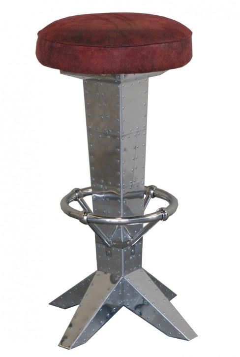 Designer Barhocker D. Clipper Alu dunkel roter Stoffbezug