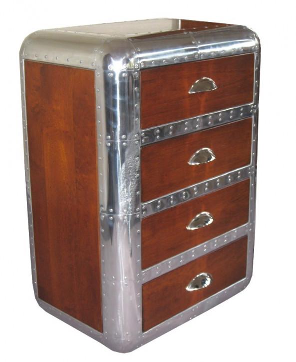 Schrank D. Clipper aus Holz und Alu - 4 Schubladen
