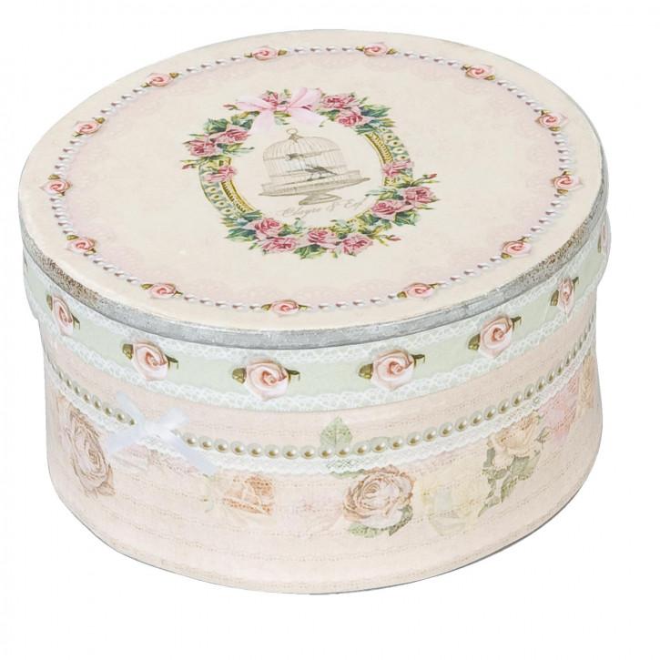 Aufbewahrungsbox mit rosa Blumenmuster, in rund