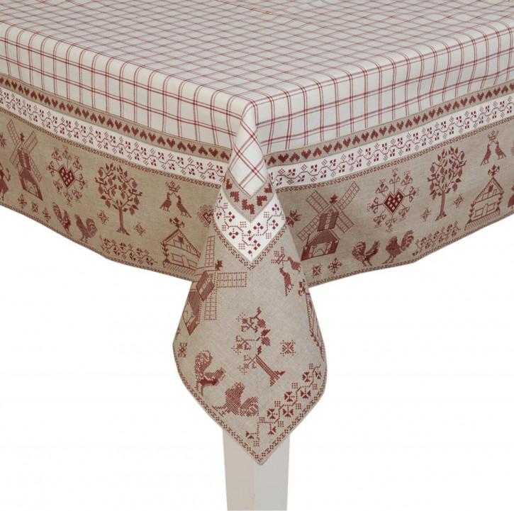 Tischdecke mit rotem Muster 100*100cm