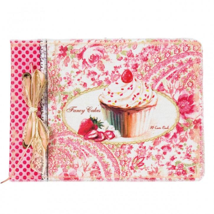 Notizbuch mit Muffin-Motiv, pink/weiss