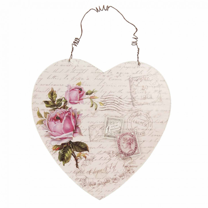 Herz-Aufhänger mit Blumen-  und Briefmarkenmuster