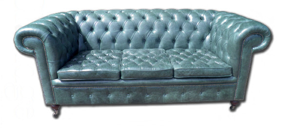 """Burlington Chesterfield"" Klassisches englisches Buttonseat Sofa Chesterfield Echtleder"