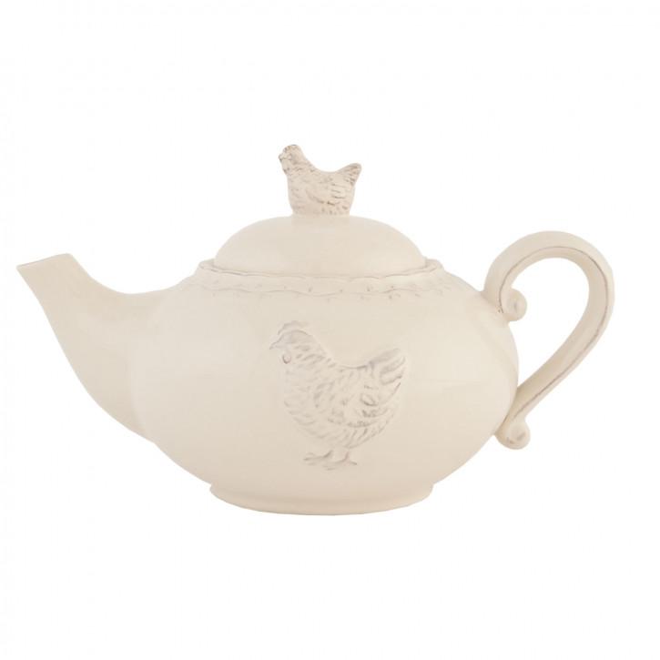 Teekanne beige mit Hahn 0,9 L