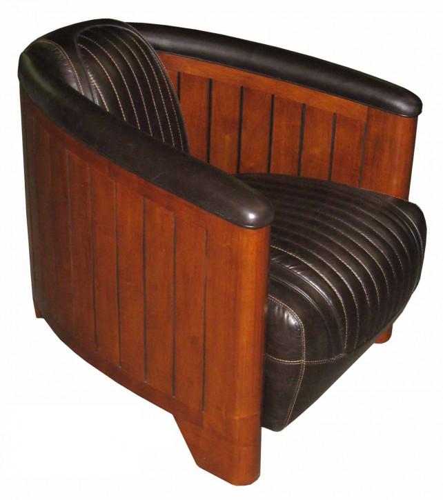 art deco leder clubsessel nautic dunkel braun rund. Black Bedroom Furniture Sets. Home Design Ideas