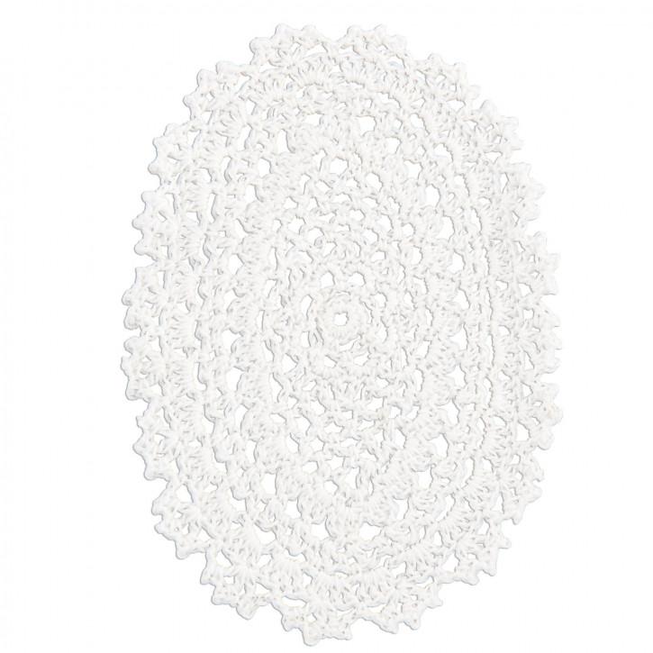 Untersetzer oval weiß 11.5*16cm