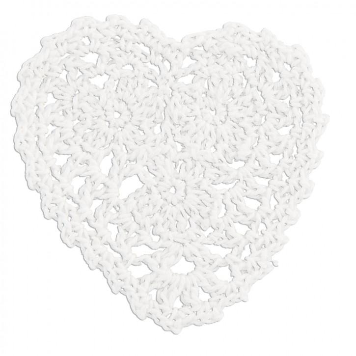 Untersetzer Herz weiß 7cm