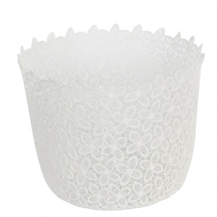 Weißer Stoffkorb mit Blumenmuster