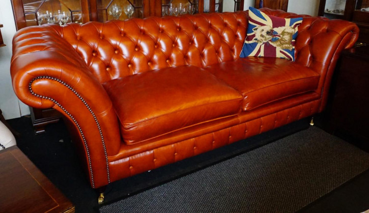 """Fort William"" original Chesterfield Sofa 3-Sitzer englisches Ledersofa Vintage"