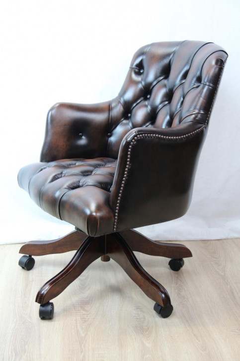 """Cloucester"" Chesterfield Drehstuhl Ledersessel"