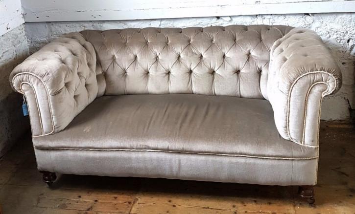 Viktorianisches Chesterfield Stoff Sofa Zweisitzer 1860
