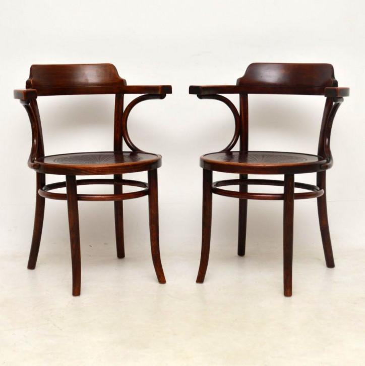Ein Paar antike Bugholz Thonet Sessel 1900