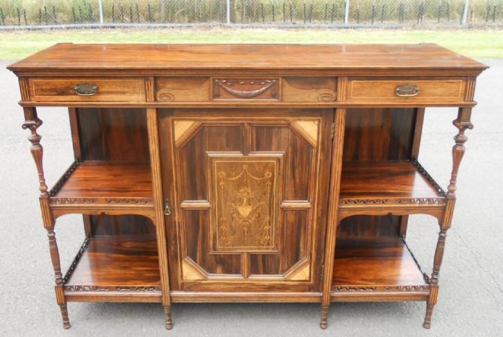 Original Edwardian Intarsien Palisander Chiffonier Sideboard