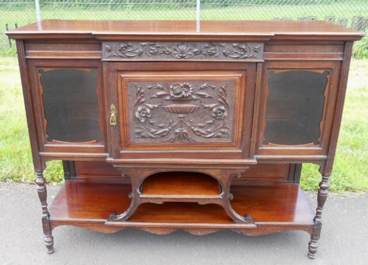 Original Edwardian geschnitztes Mahagoni Chiffonnier Sideboard um 1890