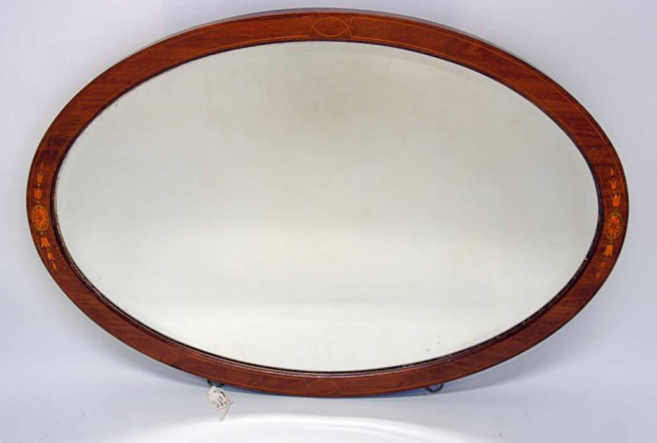 Original Edwardian Ovaler Spiegel mit Mahagoni Rahmen ca. 1900