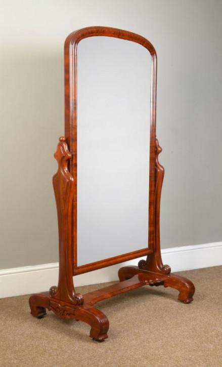 Wunderbarer Viktorianischer antiker Mahagoni Cheval Spiegel von ca. 1840