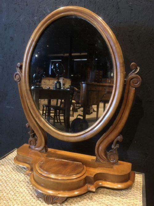 Original Viktorianischer Frisiertischspiegel mit Mahagoni Rahmung von ca. 1840