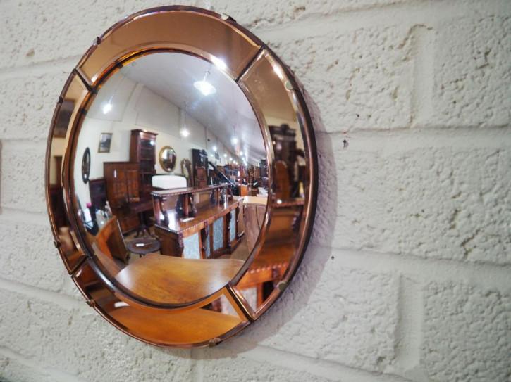 Kleiner konvexer Art Deco Spiegel mit kupferfarbender Einfassung von ca. 1930