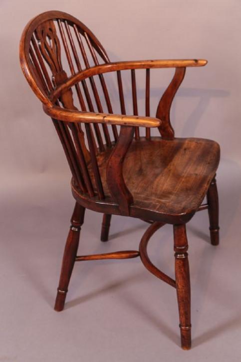 Antiker Eiben Holz Windsor Stuhl William Wheatland von ca. 1825